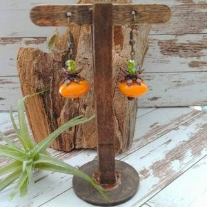 Czech Glass Bead Pumpkin Earrings